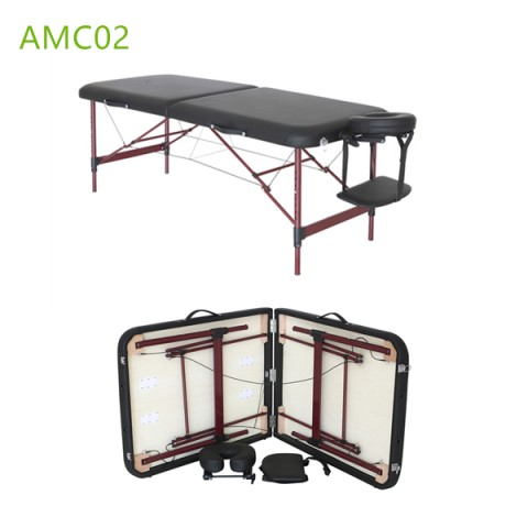 Massage Table Details Item No: AMC-02 Description: Aluminum massage table Dimension: L183cm*W71cm Adjustable Height 59-80cm Packaging: 1pc/1ctn Carton Dimension: L94cm*W20cm*H76cm Net weight: 12.50kg Gross weight: 15.50kg Quantity Per Container 210pcs/20gp 430pcs/40gp 478pcs/40HQ Material : PVC/PU leather,foam:5cm thickness,Alu frame, with carry bag. Certification: CE Delivery time: 30 days after receiving your fully Payment